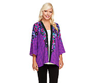 Bob Mackies Flared Romantic Floral Print Georgette Cardigan - A256958