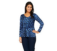 Susan Graver Printed Liquid Knit Ruched Front Top - A259558