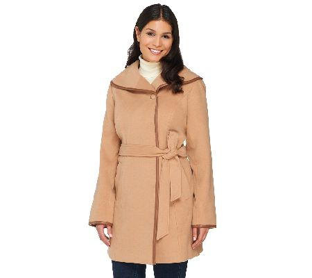 Dennis Basso Faux Wool Trench with Faux Leather Detail