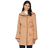 Dennis Basso Faux Wool Trench w/ Faux Leather Detail - A261158