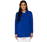 Susan Graver Weekend Brushed Back Knit Fold Over Neck Top - A261958