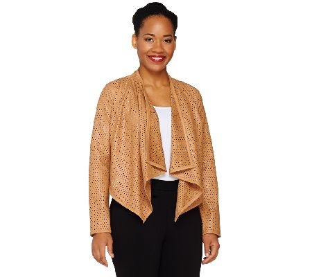 G.I.L.I. Faux Leather Open Front Perforated Jacket - A264158