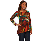 Attitudes by Renee Printed Jersey Knit Tunic with Asymmetric Hem - A266858