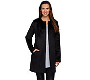 LOGO by Lori Goldstein Collarless Topper Coat with Pockets - A269658