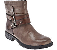 Earth Leather Buckle Detail Ankle Boots - Pepperidge - A270058