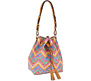 As Is Dooney & Bourke Multi Colored Chevron Drawstring Bag - A270358