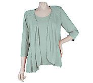 As Is Bob Mackies 3/4 Sleeve Drape Front Cardigan Set with Tank - A272558