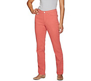 Denim & Co. How Slimming Regular Colored Denim Straight Leg Pants - A272958