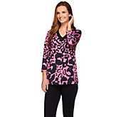 Susan Graver Printed Butterknit 3/4 Sleeve V-neck Top - A273458