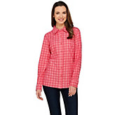 Isaac Mizrahi Live! TRUE DENIM Yarn Dyed Gingham Shirt - A275058