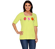 As Is Quacker Factory Daisy Fun Square Neck Elbow Sleeve T-shirt - A275558