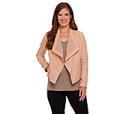 As Is G.I.L.I Open Front Tonal Printed Leather Jacket w/ Pockets - A275758