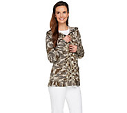 LOGO Lounge by Lori Goldstein Printed French Terry Hoodie w/ Chiffon Trim - A276758