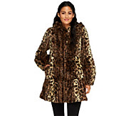 As Is Dennis Basso Platinum Collection Tiered Faux Fur Coat with Hood - A277358