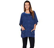 As Is LOGO by Lori Goldstein Sweater Knit Poncho with Faux Suede Trim - A278858