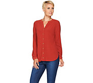 Susan Graver Textured Liquid Knit Y-Neck Button Front Shirt - A281158