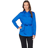 Belle by Kim Gravel Stretch Woven Shirt with Wrap Belt - A283058