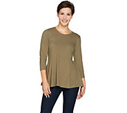 LOGO by Lori Goldstein Cotton Slub Knit Top with Peplum Seam Dtl - A283658