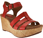 As Is Clarks Artisan Leather Multi-Strap Wedges - Caslynn Harp - A283858