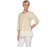 LOGO by Lori Goldstein Striped Boucle Top w/ Crinkle Gauze Hem - A286958