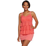 As Is Denim & Co. Beach Eyelet Tiered Tankini with Swimsuit - A287458