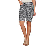 As Is Susan Graver Printed Stretch Cotton Zip Front Bermuda Shorts - A287858