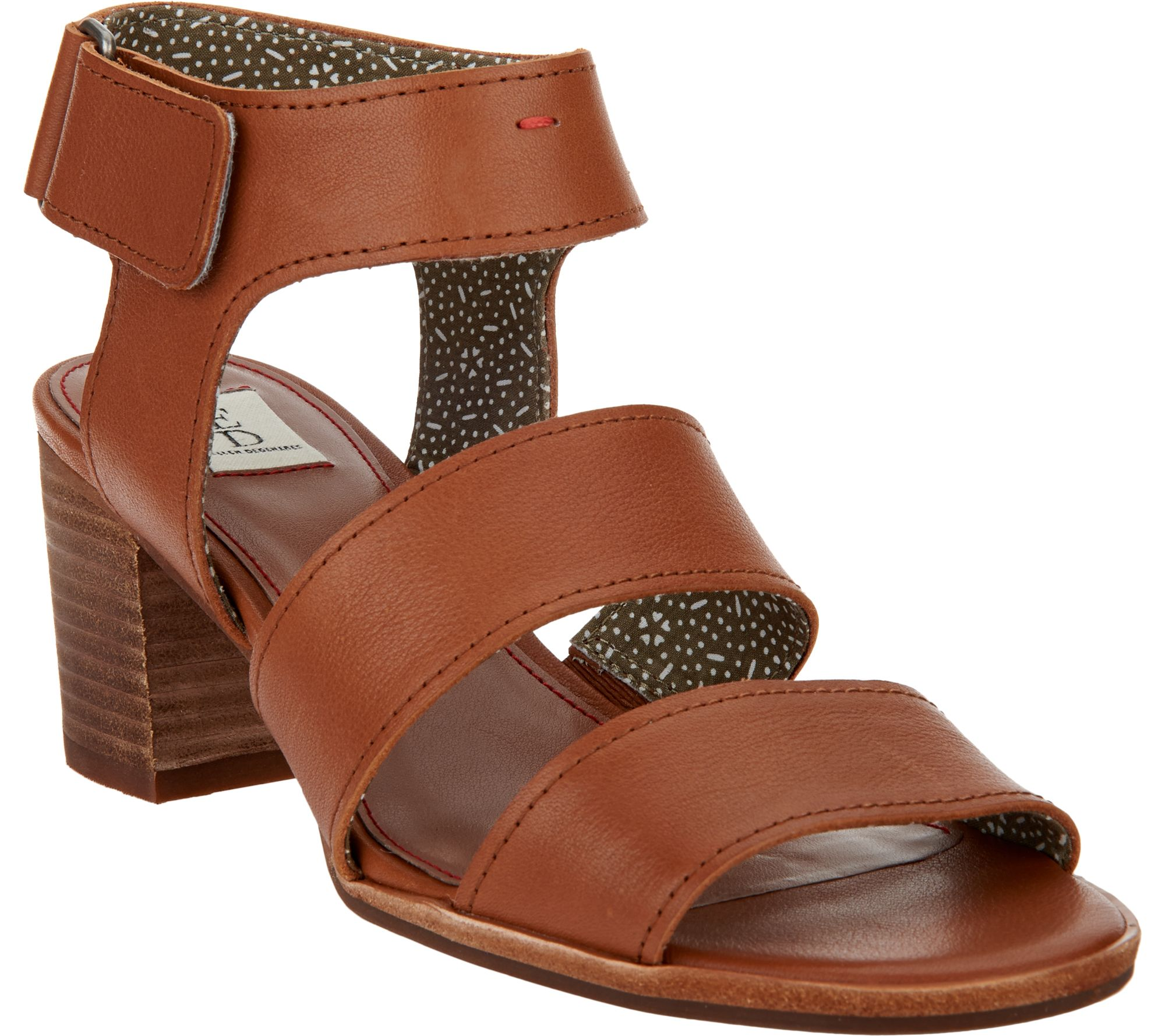 ED Ellen DeGeneres Triple Strap Leather Sandals - Tahni - A291058