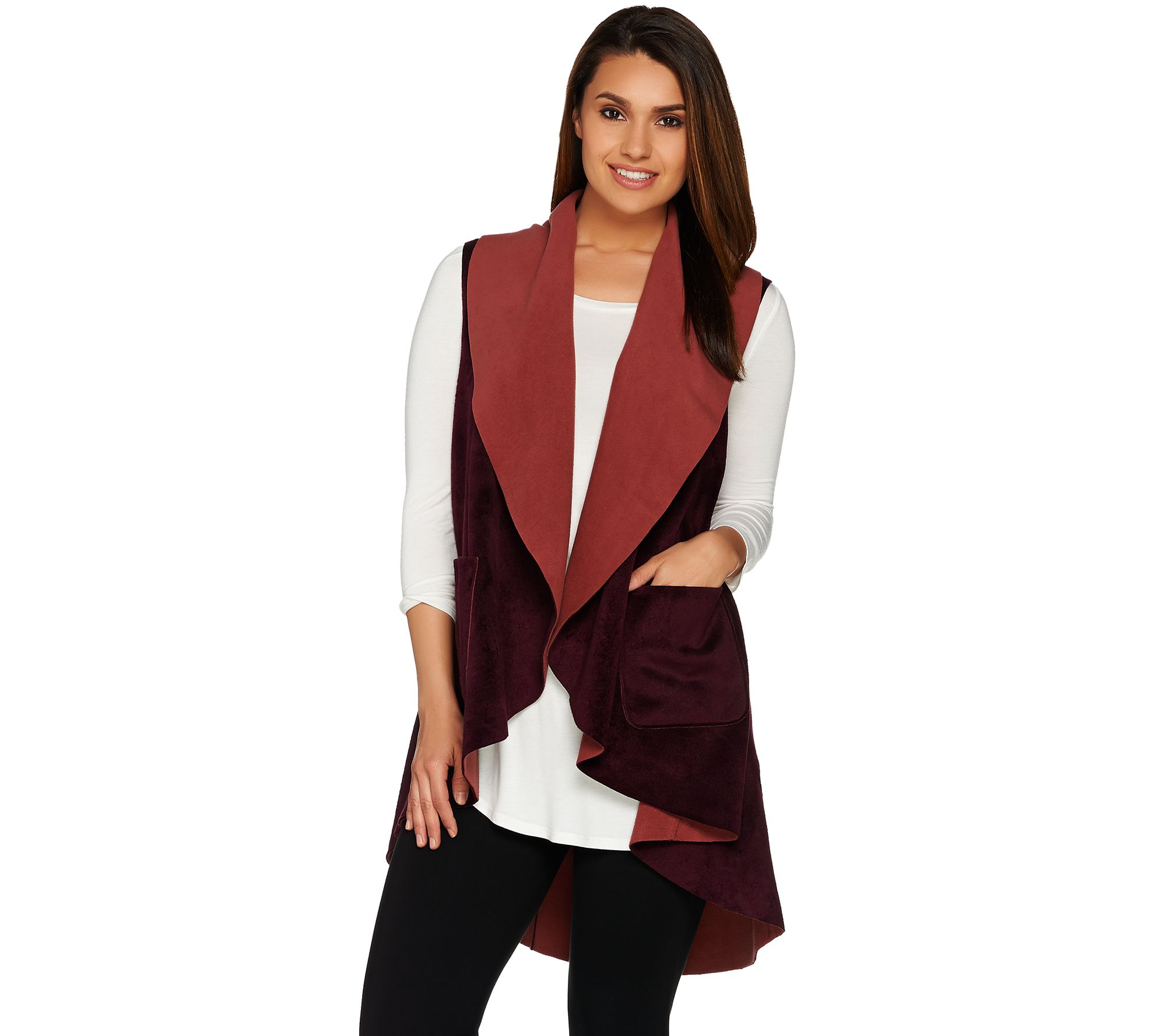 quot as is quot logo by lori goldstein double faced open front fleece vest page 1 qvc com