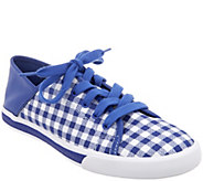 As Is Isaac Mizrahi Live! Lace-Up Gingham Sneakers - A296958