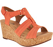 As Is Clarks Leather Triple Adjust Wedge Sandals - Annadel Orchid - A298658