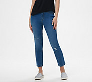 Studio by Denim & Co. Classic Denim Distressed Ankle Jeans - A304258