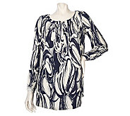 Susan Graver Printed Challis Tunic Top with Rhinestone Buttons - A209559