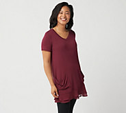 LOGO by Lori Goldstein Chiffon Trim Tee with Front Pockets - A214759