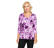 Susan Graver Floral Printed Liquid Knit Scoop Neck Top - A226859