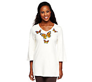 Quacker Factory Fall Flutter 3/4 Sleeve V-Neck Tunic - A227059