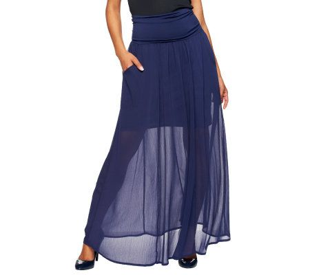 hudson collection maxi skirt with pocket detail