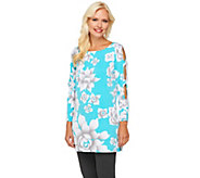 Bob Mackies Scoop Neck Flower Print Tunic w/ Sleeve Cut-Out Detail - A232559