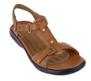 Clarks UnStructured Leather T-strap Sandals - Un.Shade - A233259