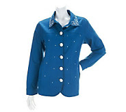 Quacker Factory Simulated Pearl and Stone Stretch Jacket - A234659