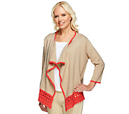 Liz Claiborne New York Open Front Cardigan with Crochet Trim - A240859