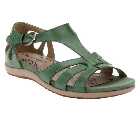 BareTraps Leather Multi T-strap Sandals w/ Cut Outs - Rosely