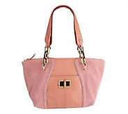 As Is B. Makowsky Layla Suede and Leather Satchel - A252159
