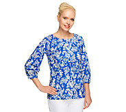 Linea by Louis DellOlio Paisley Print 3/4 Sleeve Blouse - A253359