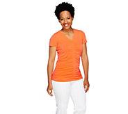 Susan Graver Liquid Knit Short Sleeve V-Neck Top with Shirring - A254559