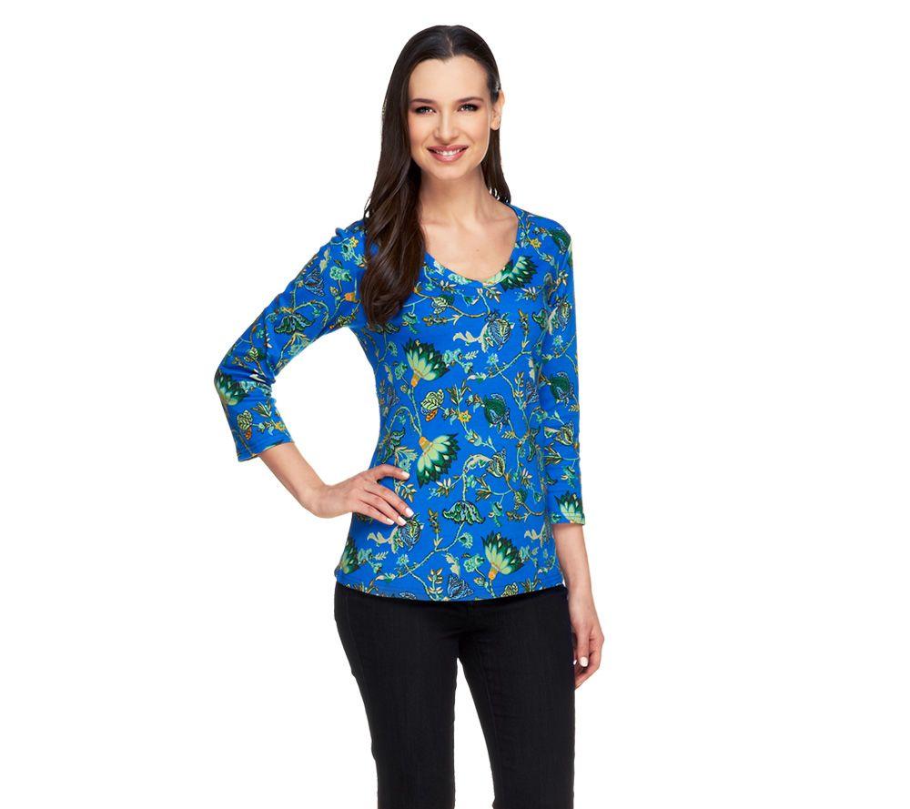 Liz claiborne new york rounded v neck printed knit top for Liz claiborne v neck t shirts