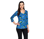Liz Claiborne New York Rounded V-Neck Printed Knit Top - A254859
