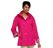 As Is Dennis Basso Water Resistant Jacket with Trim & Hood - A257159