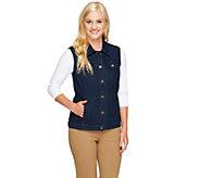 Denim & Co. Stretch Denim Button Front Vest with Pockets - A257359