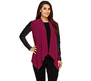 Joan Rivers Luxe Knit Draped Cardigan w/ Faux Leather Sleeves - A258259