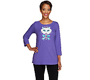 Bob Mackies Embellished Kitty Kat Knit Top - A258959